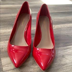 BCBG red patent heels